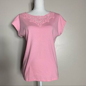 Talbots Pink Crochet Neck T-Shirt